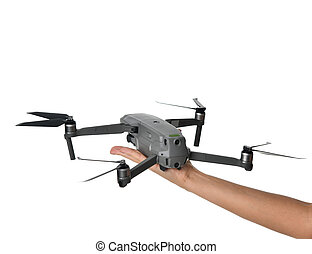 Woman hand hold new small portable drone quadcopter with digital camera isolated on white