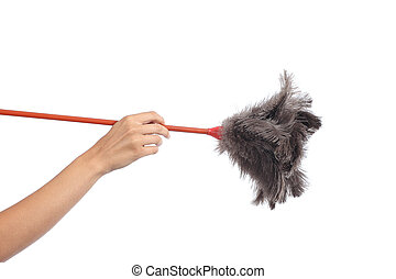 Woman hand holding a duster clean isolated on a white...