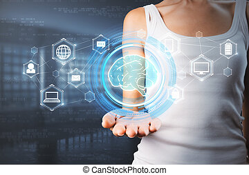 Woman hand holding abstract digital brain interface in blurry interior. Artificial intelligence and ai concept. Double exposure