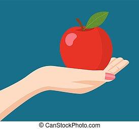 Woman hand holding an apple