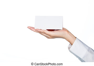 woman hand holding blank card, service