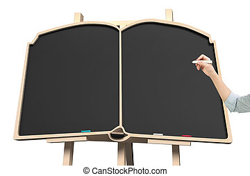 Woman hand holding chalk with blackboard in book shape