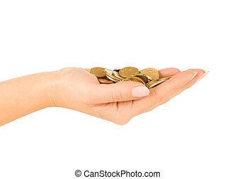 Woman hand holding coin isolated on a white background