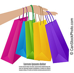 Woman Hand Holding Colorful Shopping Bag