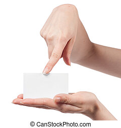Woman hand holding empty visiting card and pointing on it isolated on white