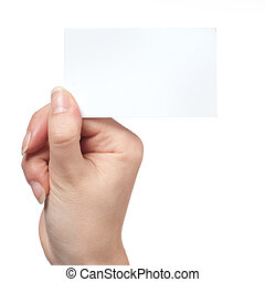 Woman hand holding empty visiting card isolated on white