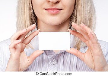 Woman hand holding empty visiting card