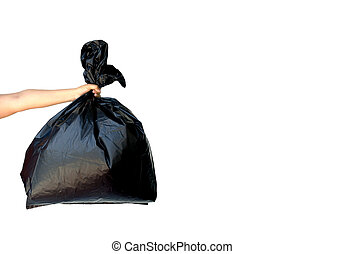 Woman hand holding garbage bag