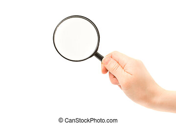 Woman hand holding magnifying glass isolated on white...