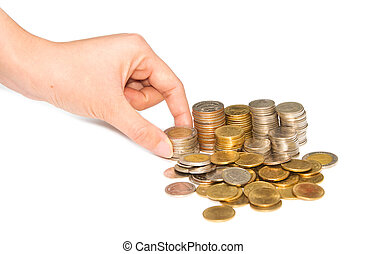 woman hand holding pile of coins