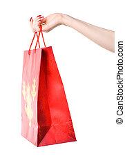 Woman hand holding shopping bag