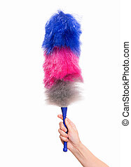 Woman hand holding soft duster