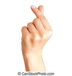 Woman hand holding something with two fingers