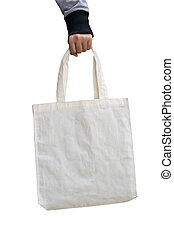 woman hand holding white cotton fabric bag on isolated ,save world concept