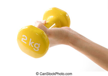 Woman hand holding yellow dumbbell on white background