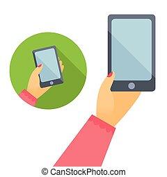 Woman hand holds phone, flat design