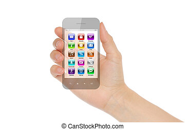 Woman hand holds transparent smart phone with icons