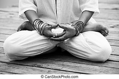 woman hand in yoga symbolic gesture mudra bw - woman hand in...