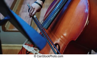 Woman hand playing violoncello with cello bow. Close up of female hand playing cello with cello bow. Cello playing music background.