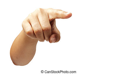 Woman hand pointing finger isolated with clipping path.