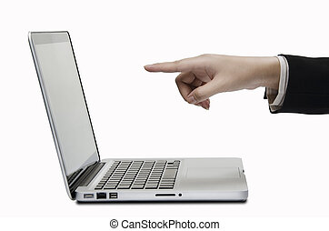 pointing to computer