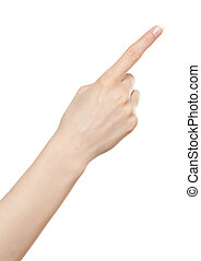 Woman hand pointing up with index finger or pressing button
