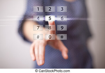 woman hand pressing digital button