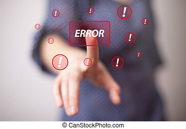 hand pressing ERROR button