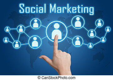 woman hand pressing social marketing icon on blue background with world map