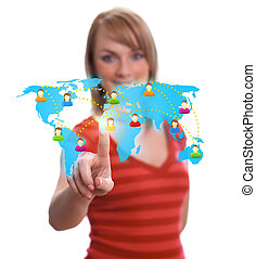 woman hand pressing Social network icon 2 - woman hand...