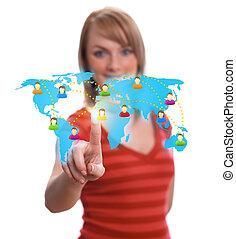 woman hand pressing Social network icon 2