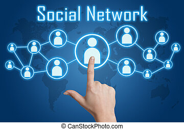 pressing social network icon - woman hand pressing social...