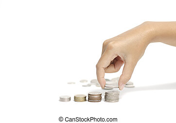 hand putting stack of coins