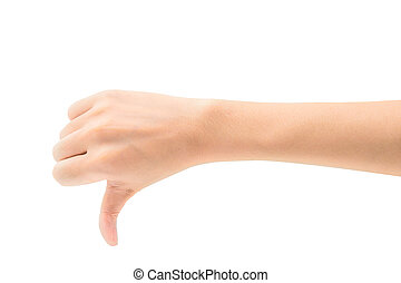 Woman hand show thump down isoalted on white background with clipping path