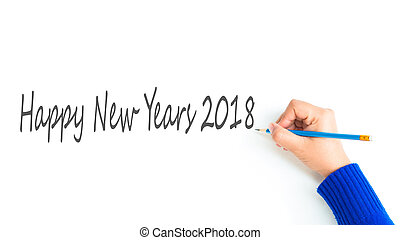 Newyears 2018 - woman hand show writing texts 'Happy...