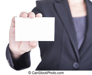 business card - Woman hand showing business card on a white...