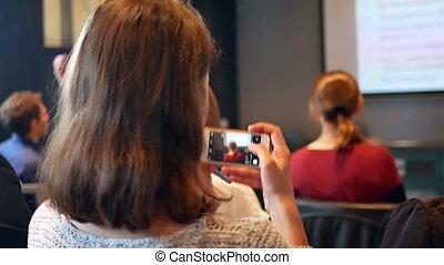 Woman hand smartphone study - Representatives of the...