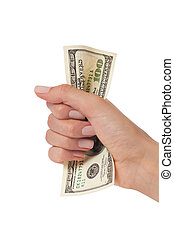 woman hand squeezing hundred dollars