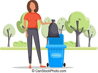 Woman hand throws garbage into a plastic bottle