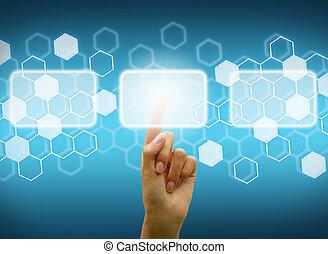 Woman hand touching digital screen - Woman hand using ...