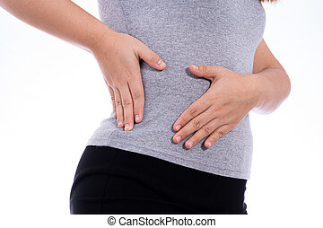 Woman hand touching stomach, waist, or liver position isolated white background. Health care and medical concept.