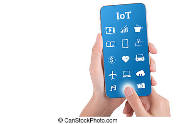 woman hand using smart phone in concept internet of things isolated on white background