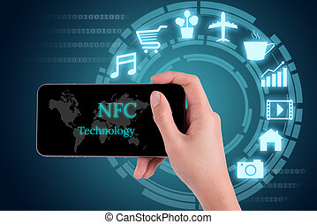 woman hand using smart phone in concept near field communication