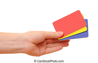 Woman hand with a credit cards. Isolated on white. Closeup.