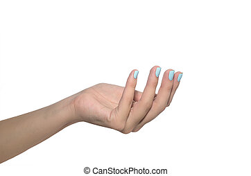 Woman hand with blue nails