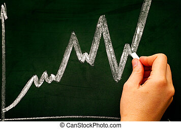 Woman hand with chalk drawing graph on dark green chalkboard.