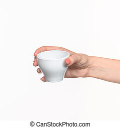 Woman hand with cup on white background