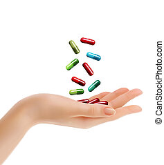 Woman hand with falling pills. Vector illustration.