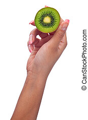 woman hand with kiwi fruit