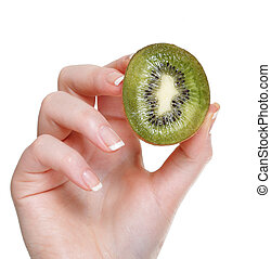 woman hand with kiwi fruit isolated